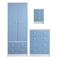 Product photograph showing Conway 3 Piece Childrens Bedroom Package - 2 Door 2 Drawer Wardrobe 4 Drawer Chest And 2 Drawer Bedside Chest - Blue