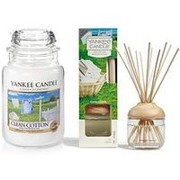 Product photograph showing Yankee Candle Clean Cotton Large Jar Candle And Reed Diffuser Bundle