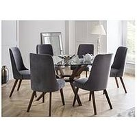Product photograph showing Julian Bowen Chelsea Large 140 Cm Glass Dining Table And 6 Huxley Chairs