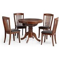 Product photograph showing Julian Bowen Canterbury Round Oval 90-120 Cm Extending Dining Table And 4 Chairs