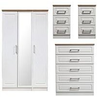 Product photograph showing Swift Regent Ready Assembled 4 Piece Package - 3 Door Mirrored Wardrobe 5 Drawer Chest And 2 Bedside Chests