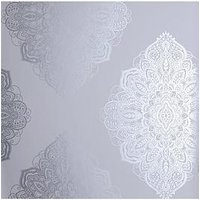 Product photograph showing Arthouse Metallic Henna Silver Wallpaper