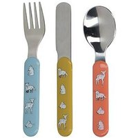 Product photograph showing Kitchencraft Into The Wild Little Explorer 3 Piece Kids Cutlery Set