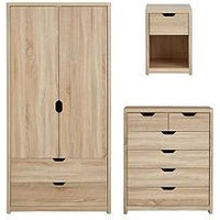 Product photograph showing Aspen 3 Piece Package - 2 Door 2 Drawer Wardrobe 4 2 Chest And Bedside Chest - Oak Effect