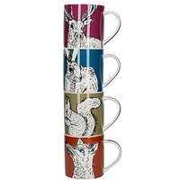 Product photograph showing Kitchencraft Into The Wild Set Of 4 Stacking Mugs