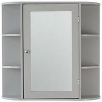 Product photograph showing Lloyd Pascal Devonshire Mirrored Bathroom Wall Cabinet - Grey