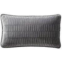 Product photograph showing Karen Millen Velvet Pleat Boudoir Cushion - Charcoal