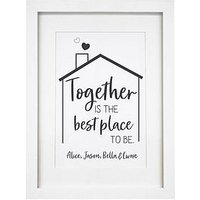 Product photograph showing Personalised Best Place To Be A4 Framed Print