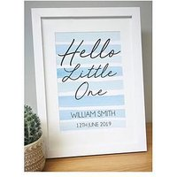 Product photograph showing Personalised Hello Little One A4 Framed Print