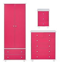 Product photograph showing Miami Fresh Kids 3 Piece Package - 2 Door 2 Drawer Wardrobe 5 Drawer Chest 3 Drawer Bedside Chest - Pink