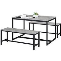Product photograph showing Julian Bowen Staten 120 Cm Dining Table 2 Benches