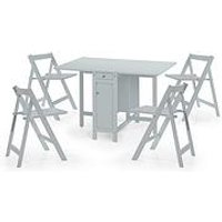Product photograph showing Julian Bowen Savoy 120 Cm Space Saver Dining Table 4 Chairs - Grey