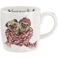 Product photograph showing Royal Worcester Wrendale Snug As A Pug Christmas Mug