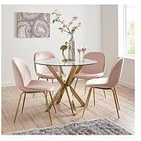 Product photograph showing Michelle Keegan Home Chopstick 100cm Round Brass Dining Table 4 Penny Velvet Chairs - Brass Pink