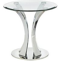 Product photograph showing Alice Glass And Chrome Lamp Table
