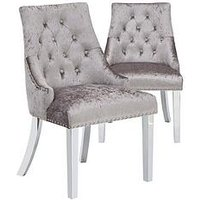 Product photograph showing Pair Of Warwick Crushed Velvet Dining Chairs