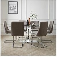 Product photograph showing Alice 160 Cm Rectangle Glass And Chrome Dining Table 6 Velvet Chairs