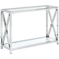 Product photograph showing Christie Glass And Chrome Console Table