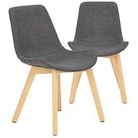 Product photograph showing Pair Of Scandi Dining Chairs - Grey Oak Effect