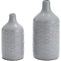 Product photograph showing Set Of 2 Grey Faceted Vases