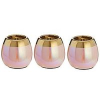 Product photograph showing Michelle Keegan Home Set Of 3 Iridescent Tealight Holders