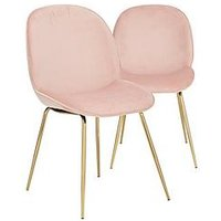Product photograph showing Pair Of Penny Fabric Dining Chairs - Pink Brass