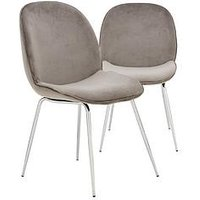 Product photograph showing Pair Of Penny Fabric Dining Chairs - Grey Chrome
