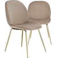 Product photograph showing Pair Of Penny Fabric Dining Chairs - Taupe Brass