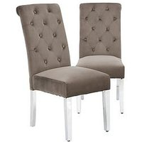 Product photograph showing Pair Of Scroll Back Velvet Chairs - Grey Chrome