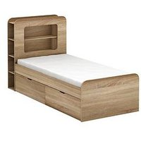 Product photograph showing Aspen Kids Storage Bed Frame - Oak Effect - Storage Bed With Premium Mattress