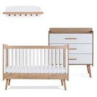 image-Silver Cross West Port Cot Bed , Dresser & Wall Shelf