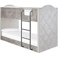 image-Mandarin Fabric Bunk Bed With Mattress Options (Buy And Save!) - Grey, Silver - Bunk Bed With Standard Mattress