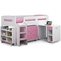 Product photograph showing Julian Bowen Marley Cabin Bed With Storage And Desk - Pink