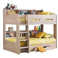 image-Julian Bowen Riley Bunk Bed With Shelves And Storage - Oak Effect