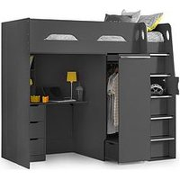 Product photograph showing Julian Bowen Max High Sleeper With Desk And Pullout Wardrobe