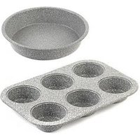 Product photograph showing Salter Marble Collection 24 Cm Baking Pan And 6-cup Muffin Tray Set In Grey