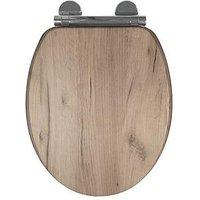 Product photograph showing Croydex Corella Grey Oak Flexi-fix Toilet Seat