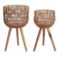 Product photograph showing Rattan-style Standing Planters - Set Of 2