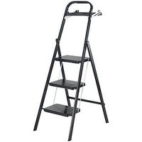 Product photograph showing Abru 3 Tread Black Stepstool With Tool Tray