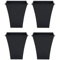 Product photograph showing Wham Set Of 4 Black 23cm Square Metallica Planters