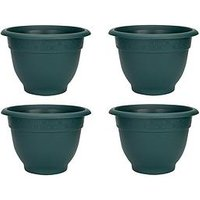 Product photograph showing Wham Set Of 4 Green 48cm Round Bell Planters