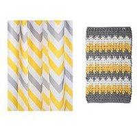 Product photograph showing Croydex Chevron Shower Curtain And Bathmat Set Ndash Yellow Grey And White