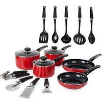 Product photograph showing Morphy Richards 14-piece Cookware Set In Red