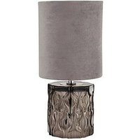 Product photograph showing Textured Glass Base Table Lamp With Grey Shade