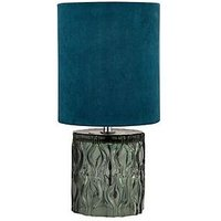Product photograph showing Textured Glass Base Table Lamp