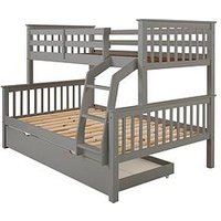 Product photograph showing Novara Trio Bunk Bed Frame - Excludes Trundle