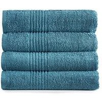 Product photograph showing Eden Egyptian Pair Of Cotton Bath Towels - Teal