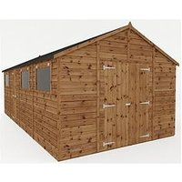 Product photograph showing Mercia 20 X 10 Ft Premium Pressure Treated Shiplap Workshop Shed With Double Doors