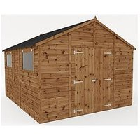 Product photograph showing Mercia 12x10 Premium Pressure Treated Shiplap Workshop Shed With Double Doors