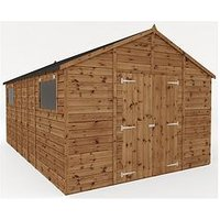 Product photograph showing Mercia 16x10 Premium Pressure Treated Shiplap Workshop Shed With Double Doors